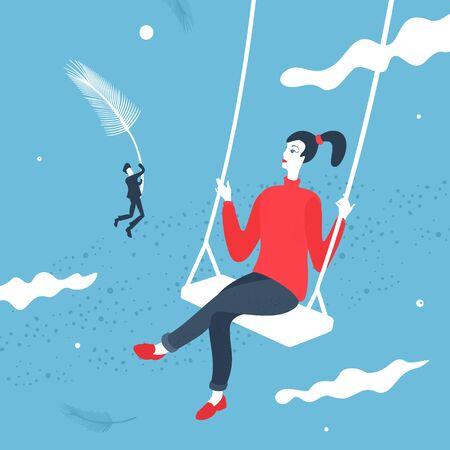 Vector Illustration Girl on the Swing Cartoon Style
