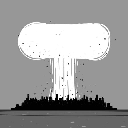 Vector illustration of a nuclear explosion in the City