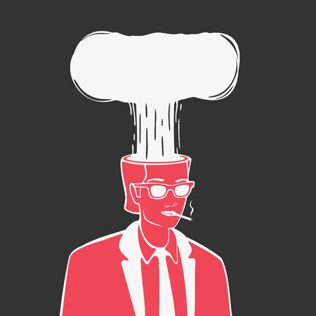 Illustration Vector Nuclear Explosion In The Head Zdjęcie Seryjne
