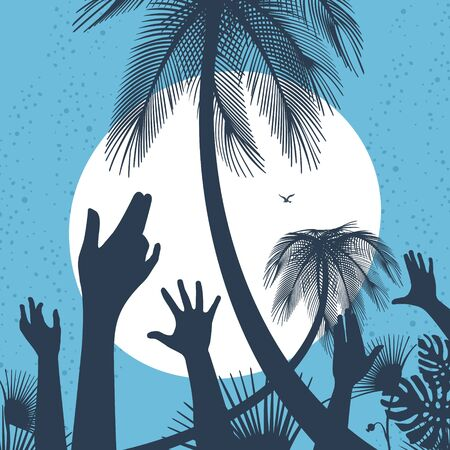 Illustration Vector People Hands Up To The Sun