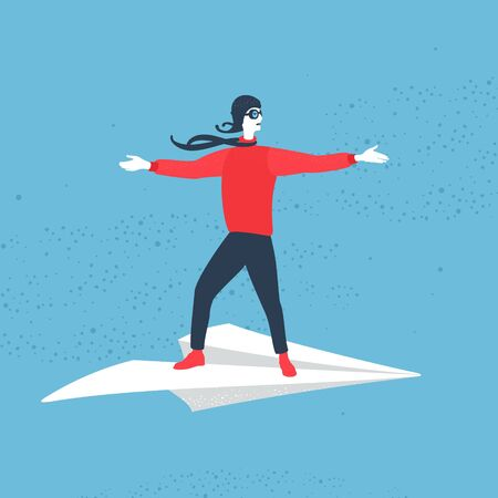 Illustration Vector Man Flying On Paper Airplane