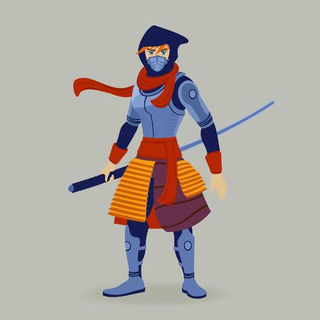 Illustration Vector Warrior Attacks Asian Cartoon Style