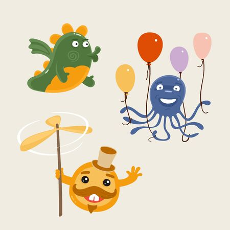 Illustration Vector Set of Fun Characters Vettoriali