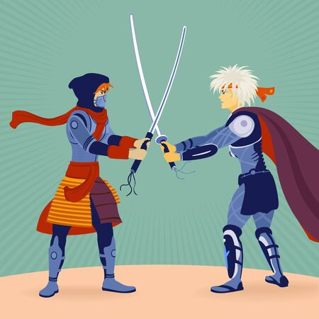 Illustration Vector Two Warriors With Swords Fighting