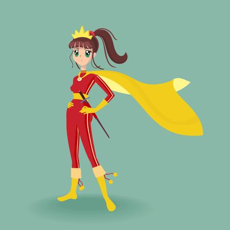 Vector Illustration Girl Hero Asian Style Character