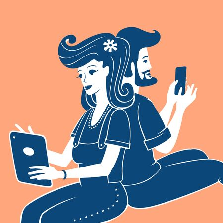 Illustration Vector People Use Mobile Devices Vettoriali