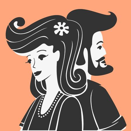 Illustration Vector Man and Woman Together Vettoriali