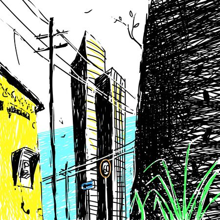 Vector illustration Sketch of city architecture