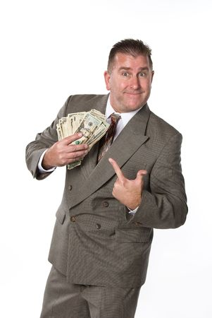 responds: Businessman responds in joy after receiving cash for a job well done. Stock Photo