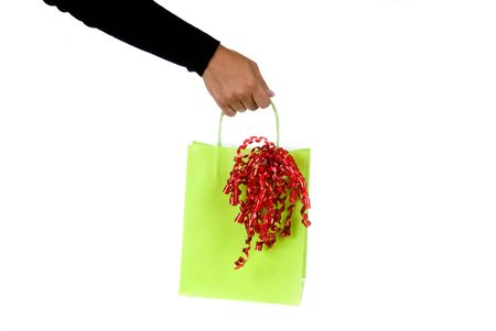 Lime green shopping bag is ready to be filled with goodies photo