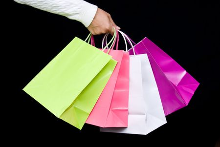 Shopping bag assortment waiting to be filled with holiday gifts or Valentine's delights Stock Photo - 1943026