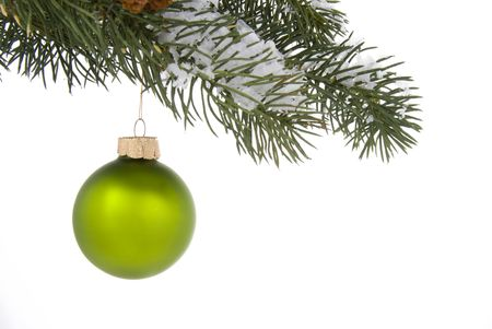 Green Christmas tree ornament hangs from a pine tree branch on a white background photo