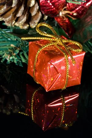 Red Christmas gift sits under a Christmas tree photo