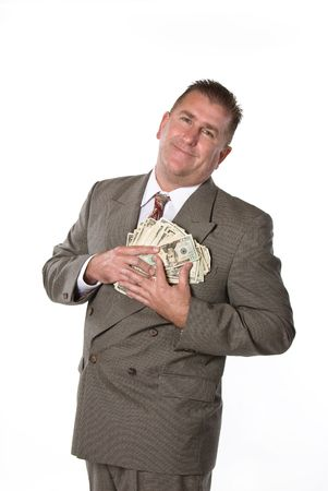 Businessman responds in joy after receiving cash for a job well done. Stock Photo - 1943265