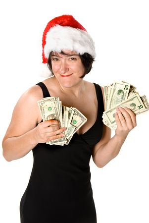 Female executive showing off her holiday bonus before a shopping spree Stock Photo - 1943127