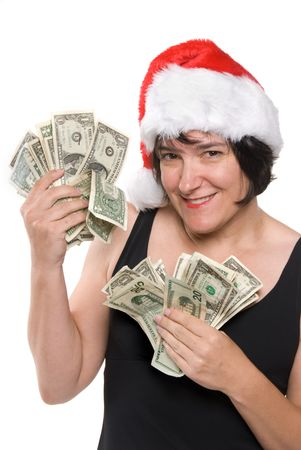Female executive shows off her holiday bonus before a shopping spree Stock Photo - 1943134