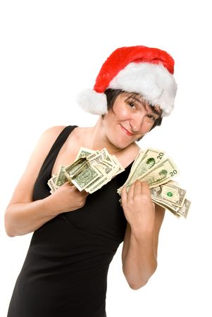 Female executive shows off her holiday bonus before a shopping spree Stock Photo - 1943129