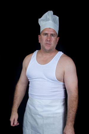 short order: Chef getting ready to work his short order cook job