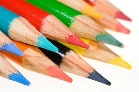 in readiness: Close up of colored pencils show readiness for coloring or architectural sketching Stock Photo