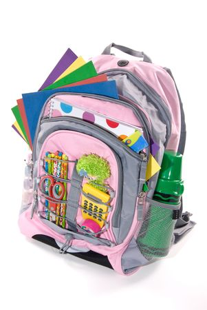 Book bag full of a students study materials Stock Photo - 1951801