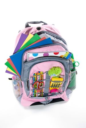Pink book bag is filled with a students school supplies