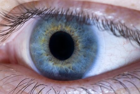 Close up of eye wearing a contact lens   Stock Photo