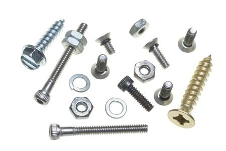 bolts heads: Nuts, bolts, washers and screws on a plain white background  Stock Photo
