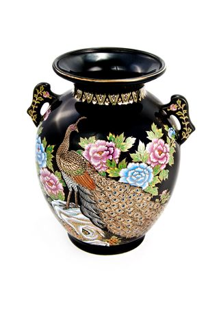 Beautiful asian vase with painting of a peacock and feathers with floral trim in gold and pastels photo