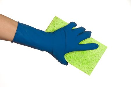 higienizar: Worker protecting hand from detergents as they use a cleaning sponge. Banco de Imagens