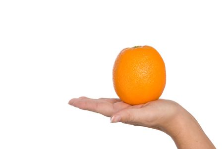 infer: Fresh orange held in hand to infer freshness and healthy lifestyles. Isolated on a white background for easy manipulation by user.