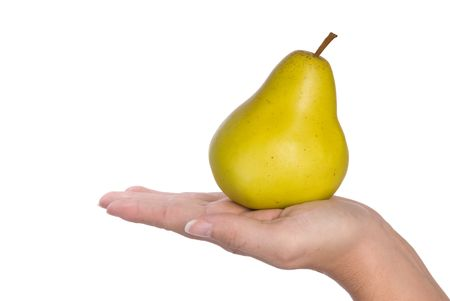 infer: Fresh pear held in hand to infer freshness and healthy lifestyles. Isolated on a white background for easy manipulation by user.   Stock Photo