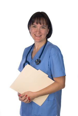 inference: Conceptual image of a doctor relaxing holding a patients file. Intended for any use where a medical inference is needed.