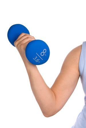 A woman works out to keep in shape.