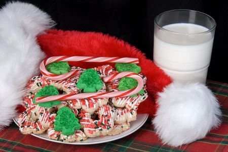 inference: Seasonal Christmas cookie setting for use as Santa's cookies on Christmas eve, or any type of holiday promotion that requires a holiday inference.