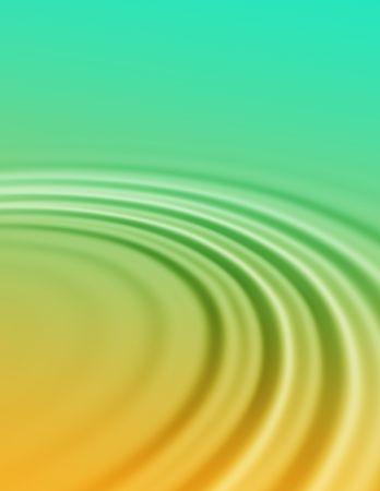 Abstract water ribbeling beeld van een gouden zonsondergang stuitert uit een groene zee.