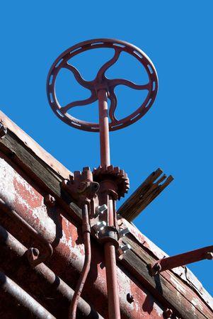 A train track directional wheel on a vintage railway in Arizona