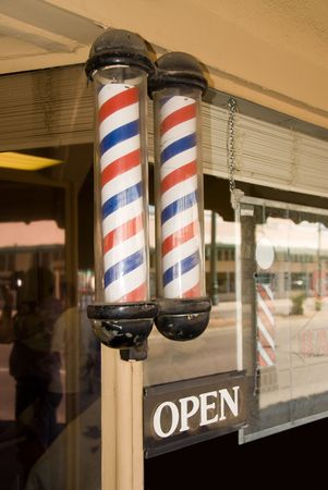 An old barbor shop is activly open cutting hair for 50 years. photo