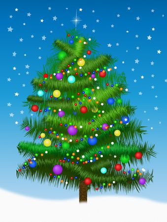 A beautiful christmas tree illustration for holiday use Stock Photo