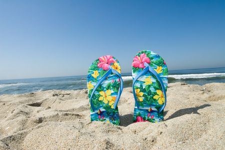 A pair of flip flops stuck in the sand by a beachgoer
