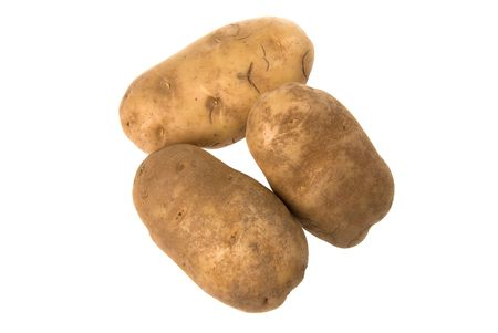 inference: Unpeeled potatoes isolated on white for use in any kind of promotional inference.