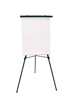 inference: A blank flip chart pad and easel for use with any advertising inference with available copy space. Stock Photo