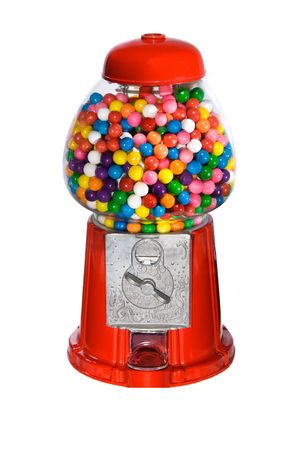 multicolored gumballs: Gumball vending machine filled with colorful gumballs isolated on white