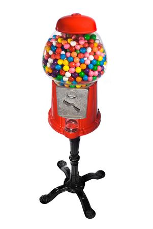 Gumball vending machine filled with colorful gumballs isolated on white