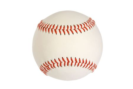 stitching: A new baseball isolated on white with red stitching Stock Photo