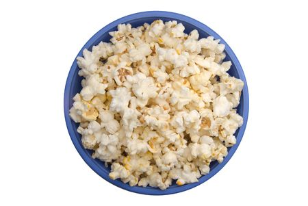 popcorn bowl: A bowl of popcorn isolated on a white background.