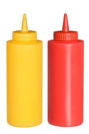 squeezing: Isolated bottles of ketchup and mustard.  These were composed backlighting to give a pure white negative space to allow you to easily cut one out and use the bottles independently.