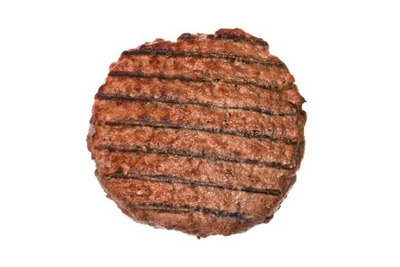 patty:  A thick, juicy hamburger patty cooked on a barbecue isolated on white.