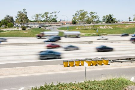 barrier: A freeway scenic shot at slow shutter speed to capture motion Stock Photo
