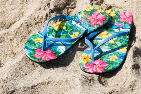 flip flops: A pair of colorful and tropical flip flops on the beach.