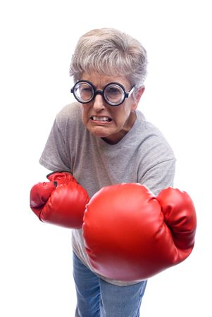 A mother shows who is boss by using her boxing gloves. Stock Photo - 3820498